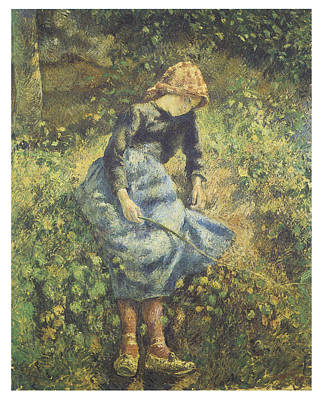 The Shepherdess Poster by Camille Pissarro