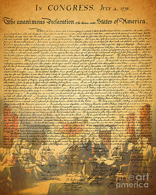 The Signing Of The United States Declaration Of Independence Poster by Wingsdomain Art and Photography
