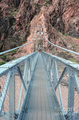 The Silver Bridge Spanning The Colorado River At The Bottom Of Grand Canyon National Park Poster