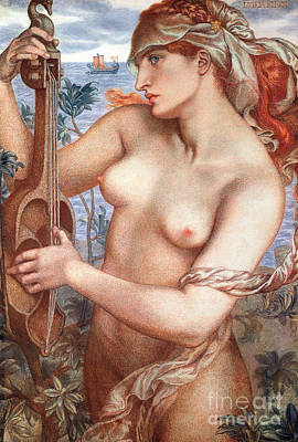 The Siren Poster by Dante Charles Gabriel Rossetti