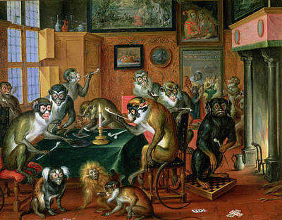 The Smoking Room With Monkeys Oil On Copper Poster