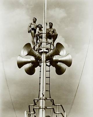 The Spence Brothers Sitting At The Top Of A Tower Poster