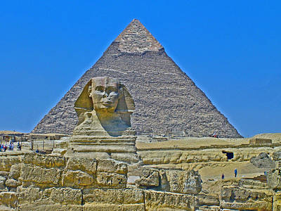 The Sphinx In Front Of Chephren Pyramid On Giza Plateau Near Cairo-egypt Poster by Ruth Hager