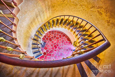 The Spiral Staircase At Scotty's Castle Poster by Mimi Ditchie