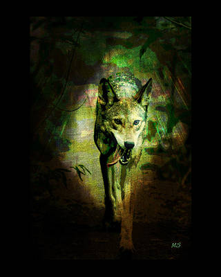 Poster featuring the digital art The Spirit Of The Wolf by Absinthe Art By Michelle LeAnn Scott