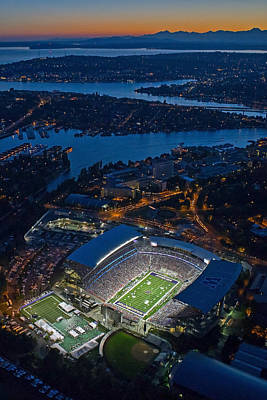 Husky Stadium At Dusk Poster by Max Waugh
