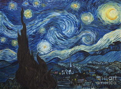 The Starry Night - Van Gogh Copy Poster by Troy Wilfong