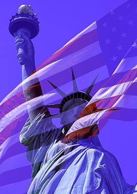 The Statue Of Liberty Draped With The Flag Of The United States Poster