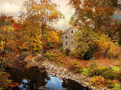 The Stone Mill In Autumn Poster