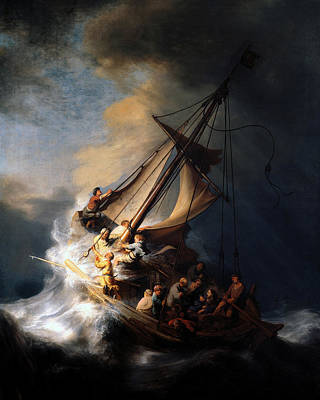 Poster featuring the digital art The Storm On The Sea Of Galilee by Rembrandt