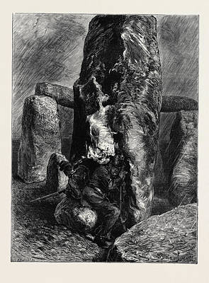 The Stragglers At Stonehenge Poster by English School