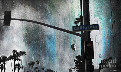 The Streets Of Santa Monica Califorina Poster by Christine Mayfield