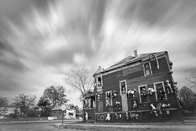 The Stuffed Animal Doll House At The Heidelberg Project - Detroit Michigan - Bw Poster