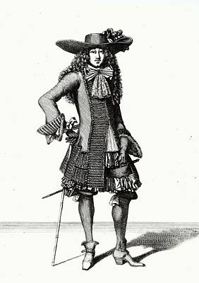 The Summer Sword Dress, 1675 Etching Bw Print Poster by Bonnart