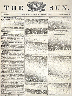 The Sun, 1833 Poster by Granger