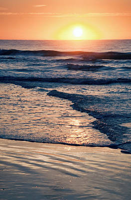 Sun Rising Over The Beach Poster