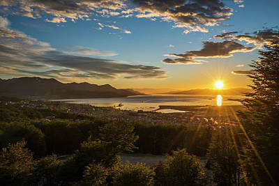 The Sun Rises Over The Port Of Ushuaia Poster by Nick Dale