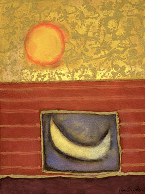 The Sun Rises While The Moon Sleeps, 1990 Mixed Media On Paper Poster by Peter Davidson