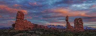 Poster featuring the photograph The Sun Sets At Balanced Rock by Roman Kurywczak
