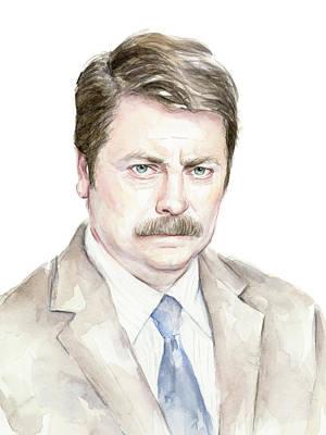Ron Swanson Watercolor Portrait Poster by Olga Shvartsur
