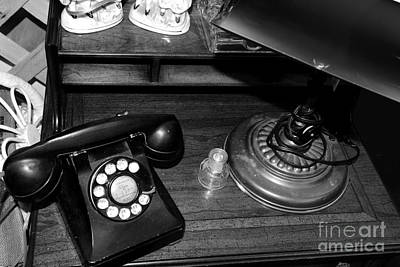 The Telephone Table - Black And White Poster by Paul Ward