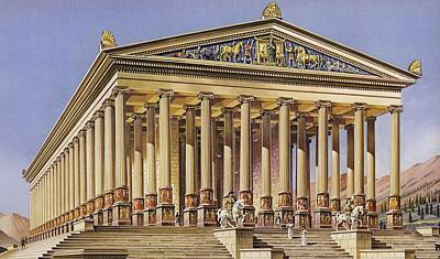 The Temple Of Artemis Colour Litho Poster by English School