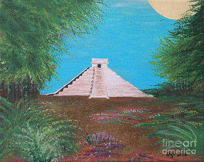 Poster featuring the painting The Temple Of Kukulcan by Alys Caviness-Gober