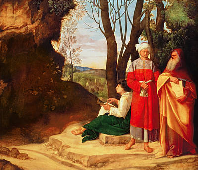 The Three Philosophers Oil On Canvas Poster by Giorgione