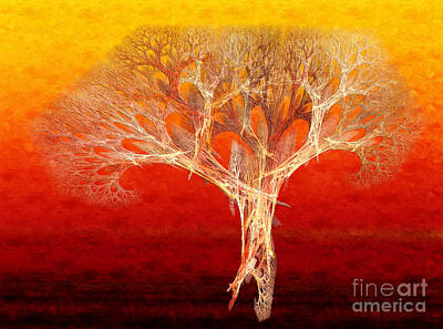 The Tree In Fall At Sunset - Painterly - Abstract - Fractal Art Poster