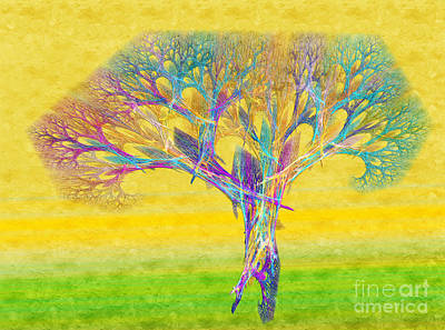 The Tree In Spring At Midday - Painterly - Abstract - Fractal Art Poster
