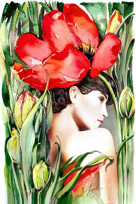 Poster featuring the painting The Tulip by Anna Ewa Miarczynska