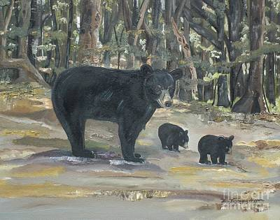 Poster featuring the painting Cubs - Bears - Goldilocks And The Three Bears by Jan Dappen