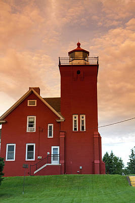 The Two Harbors Lighthouse Overlooking Poster by David R. Frazier