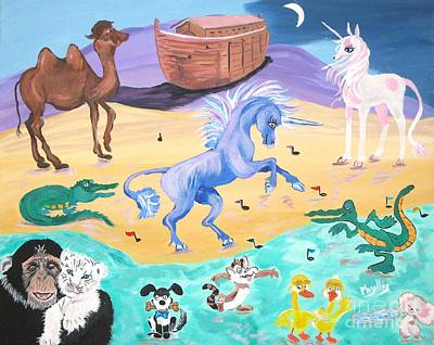 The Unicorn Song In Paint Poster by Phyllis Kaltenbach