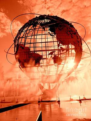 The Unisphere And Fountains Poster