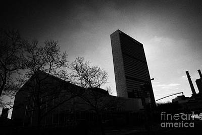 The United Nations Building Backlit New York City Poster by Joe Fox