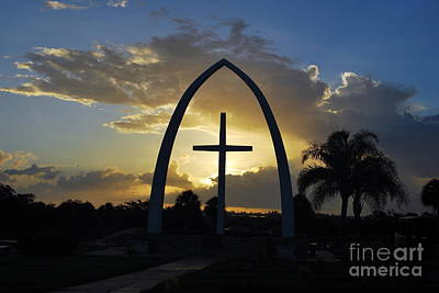 Poster featuring the photograph The Universal Cross At Sunrise by Bob Sample