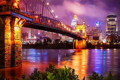 The Vibrant Cincinnati Ohio Skyline And John Roebling Suspension Bridge Poster by Gregory Ballos