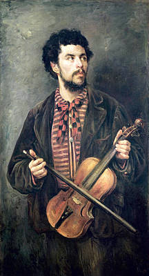 The Violin Player Oil On Canvas Poster by Marcellin Gilbert Desboutin