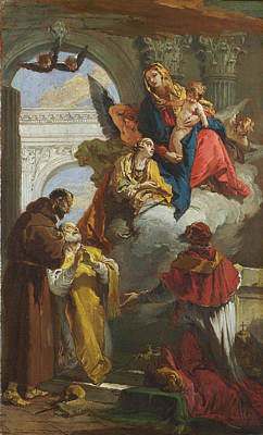 The Virgin And Child Appearing To A Group Of Saints Poster by Giovanni Battista Tiepolo