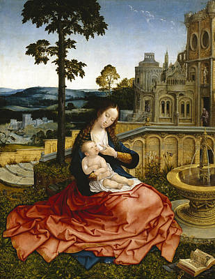 The Virgin And Child By A Fountain Poster by Bernard van Orley