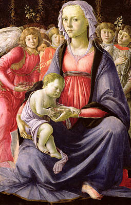 The Virgin And Child Surrounded By Five Angels Poster