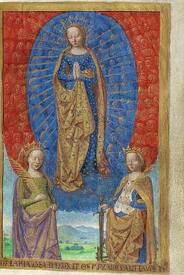 The Virgin In A Cloud Of Angels, With Saints Barbara Poster