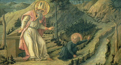 The Vision Of St. Augustine, Late 1450s Panel Poster by Filippino Lippi
