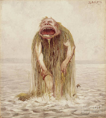 The Wade Troll That Only Lived On Virgin Meat Poster by Theodor Kittelsen