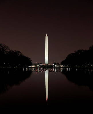 The Washington Monument - Reflections At Night Poster