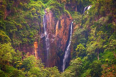 The Waterfalls. Sri Lanka Poster by Jenny Rainbow