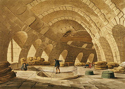 The Wheat Store, Rue De Viarmes, Engraved By I. Hill Coloured Engraving Poster by John Claude Nattes