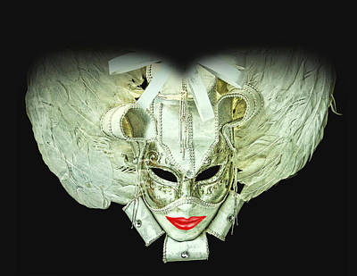 The White Dame Vintage Venetian Mask Silver And White Poster by Luisa Vallon Fumi