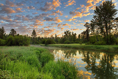 The Whitefish River With Nice Sunrise Poster by Chuck Haney